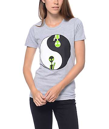 A-Lab Yin Yang Alien Grey T-Shirt