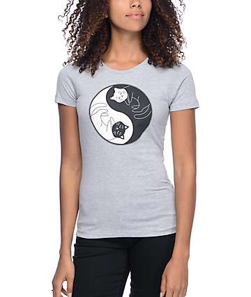 A-Lab Yin Yang Cats Dark Grey Boyfriend T-Shirt