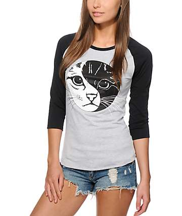 A-Lab Yin Yang Kitty Baseball Tee