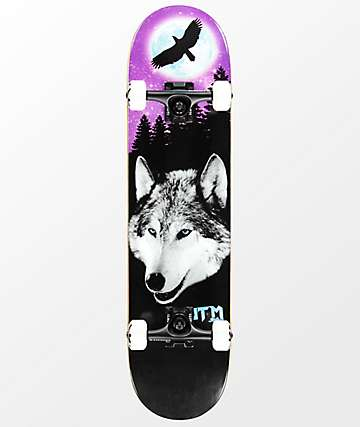 "ATM Lone Spirit Wolf 7.7"" Complete Skateboard"