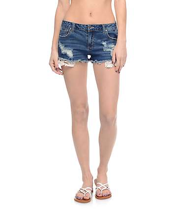 Abigail Dark Wash Crochet Pocket Shorts