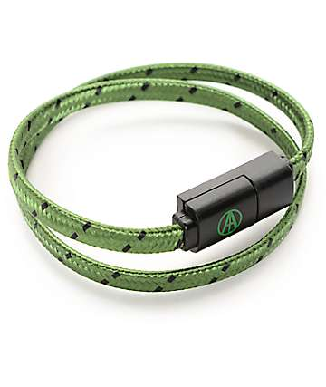 Adapt Technology Double Wrap Essential Olive & Black Bracelet & Charging Cable