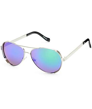 Airman Thick Silver Aviator Sunglasses