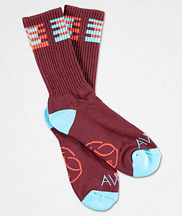 Alien Workshop Watcher Burgundy & Light Blue Crew Socks