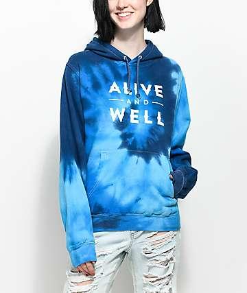 Alive & Well Blue Tie Hoodie
