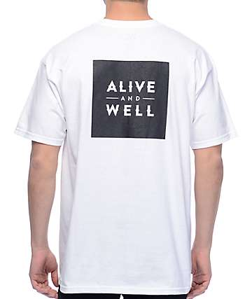 Alive And Well Dual Logo White T-Shirt