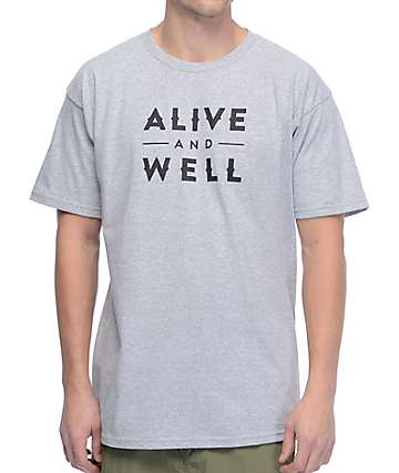 Alive And Well Logo Heather Grey T-Shirt