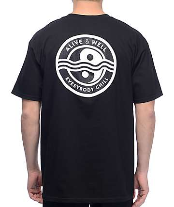 Alive And Well Yin Yang Black T-Shirt
