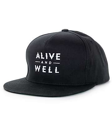Alive and Well Classic Logo Black Snapback Hat