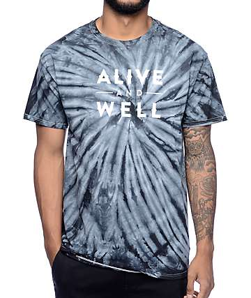 Alive and Well Logo Grey Tie Dye T-Shirt