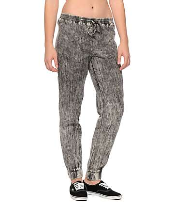 Almost Famous Acid Wash Denim Jogger Pants