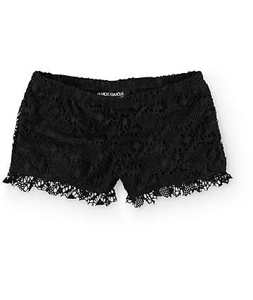 Almost Famous Barri Black Crochet Shorts