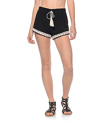 Almost Famous Black & White Crochet Trimmed Shorts