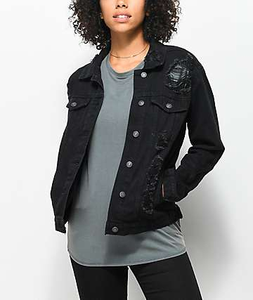Almost Famous Black Shredded Denim Boyfriend Jacket