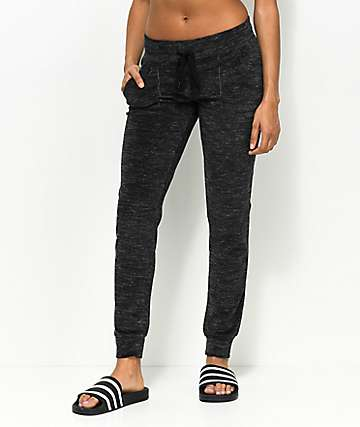 Almost Famous Black Space Dye Velour Jogger Sweatpants