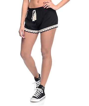 Almost Famous Black Woven Crochet Trim Shorts