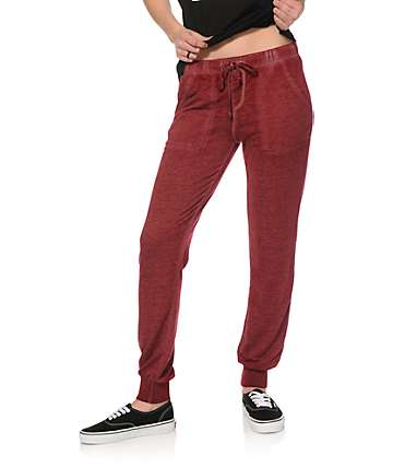 Almost Famous Blackberry Burnwash Jogger Pants