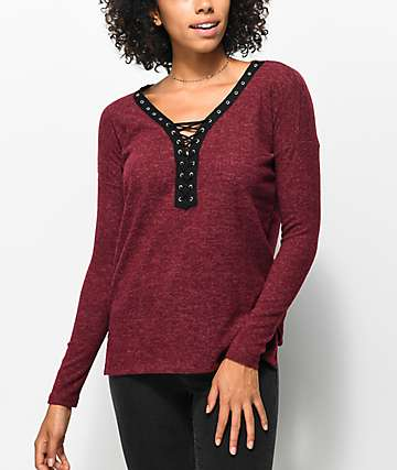 Almost Famous Britt Contrast Lace Up Burgundy Top