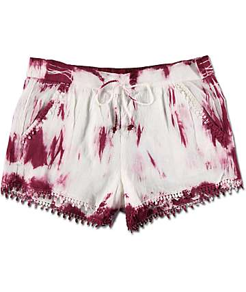 Almost Famous Burgundy & White Tie Dye Pom Trim Shorts