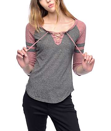Almost Famous Charcoal & Burgundy Lace Up Baseball T-Shirt