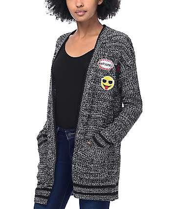 Almost Famous Claire Patch Black Cardigan
