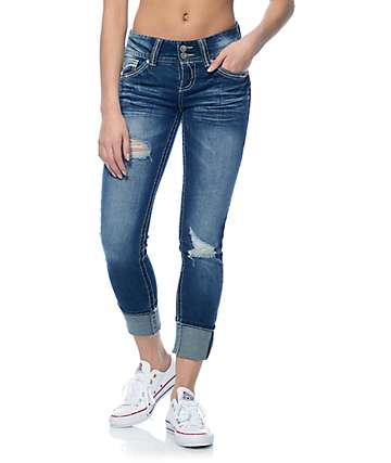 Almost Famous Crochet Back Pocket Dark Wash Skinny Jeans
