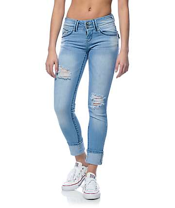 Almost Famous Crochet Back Pocket Light Wash Skinny Jeans