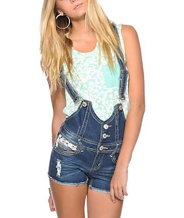 Almost Famous Crochet Detail Overall Shorts