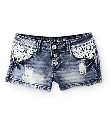 Almost Famous Crochet Pocket Acid Wash Denim Shorts