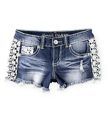 Almost Famous Crochet Side Dark Wash Denim Shorts