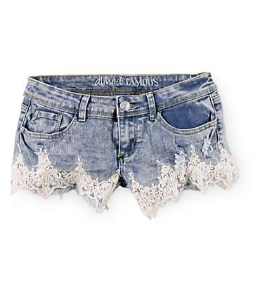 Almost Famous Crochet Trim Acid Wash Denim Shorts