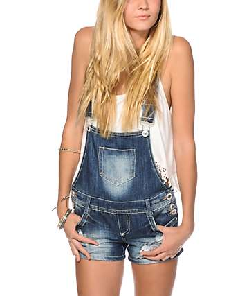 Almost Famous Cross Back Overall Shorts