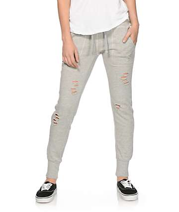 Almost Famous Distressed Grey Jogger Pants
