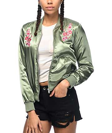 Almost Famous Double Floral chaqueta bomber en verde olivo