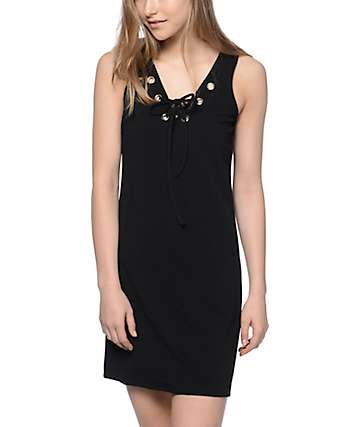 Almost Famous Double V Neck Laceup Black Dress
