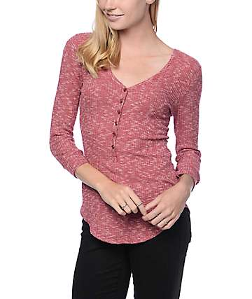 Almost Famous Dylan Blackberry Crochet Henley Top