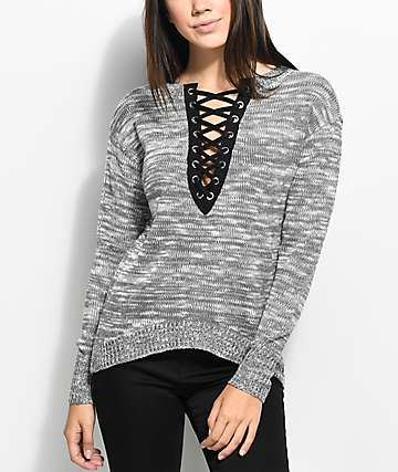 Almost Famous Eddie suéter negro y gris con cordón