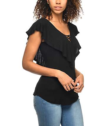 Almost Famous Effie Ruffle Black V-Neck Top