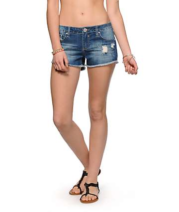 Almost Famous Emily Crochet Pocket Denim Shorts