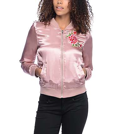 Almost Famous Floral Embroidery Pink Satin Bomber Jacket