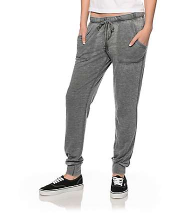 Almost Famous Grey Burnwash Jogger Pants