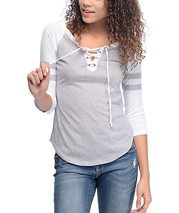 Almost Famous Heather Grey & White Lace Up Baseball T-Shirt