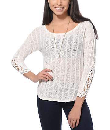 Almost Famous High Low Crochet Sweater