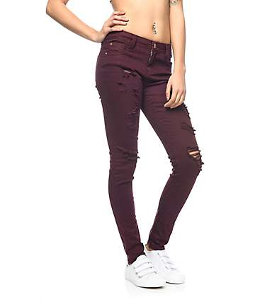 Almost Famous Jami Burgundy Destructed Skinny Jeans