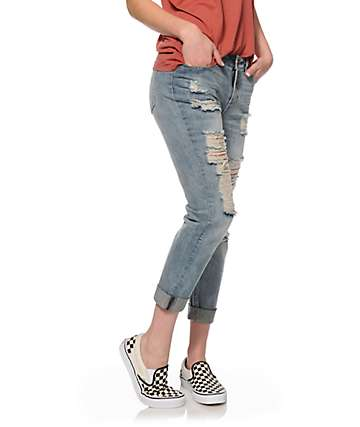 Almost Famous Jana Medium Wash Destructed Boyfriend Jeans
