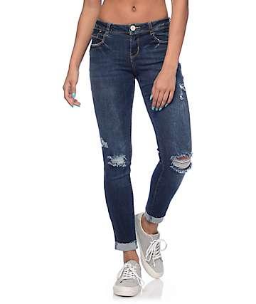 Almost Famous Jana jeans skinny estropeados con lavado oscuro