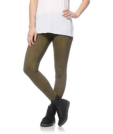 Almost Famous Kara Olive Suede Leggings