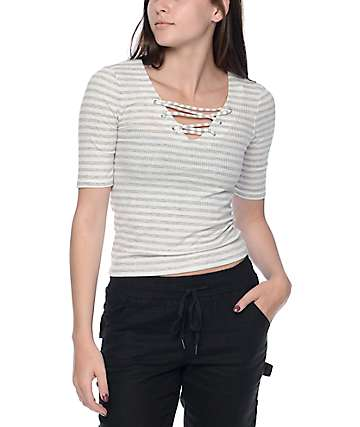 Almost Famous Kara White & Grey Lace Up Front Top