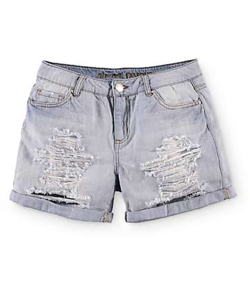 Almost Famous Karl Light Wash Boyfriend Fit Denim Shorts