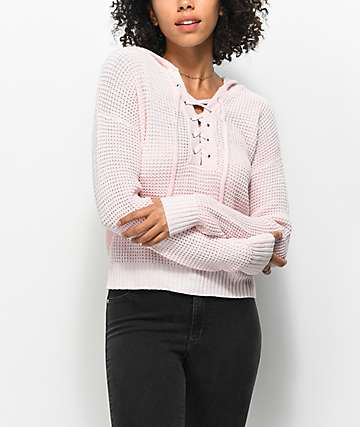 Almost Famous Karlie Lace Up Pink Hooded Sweater